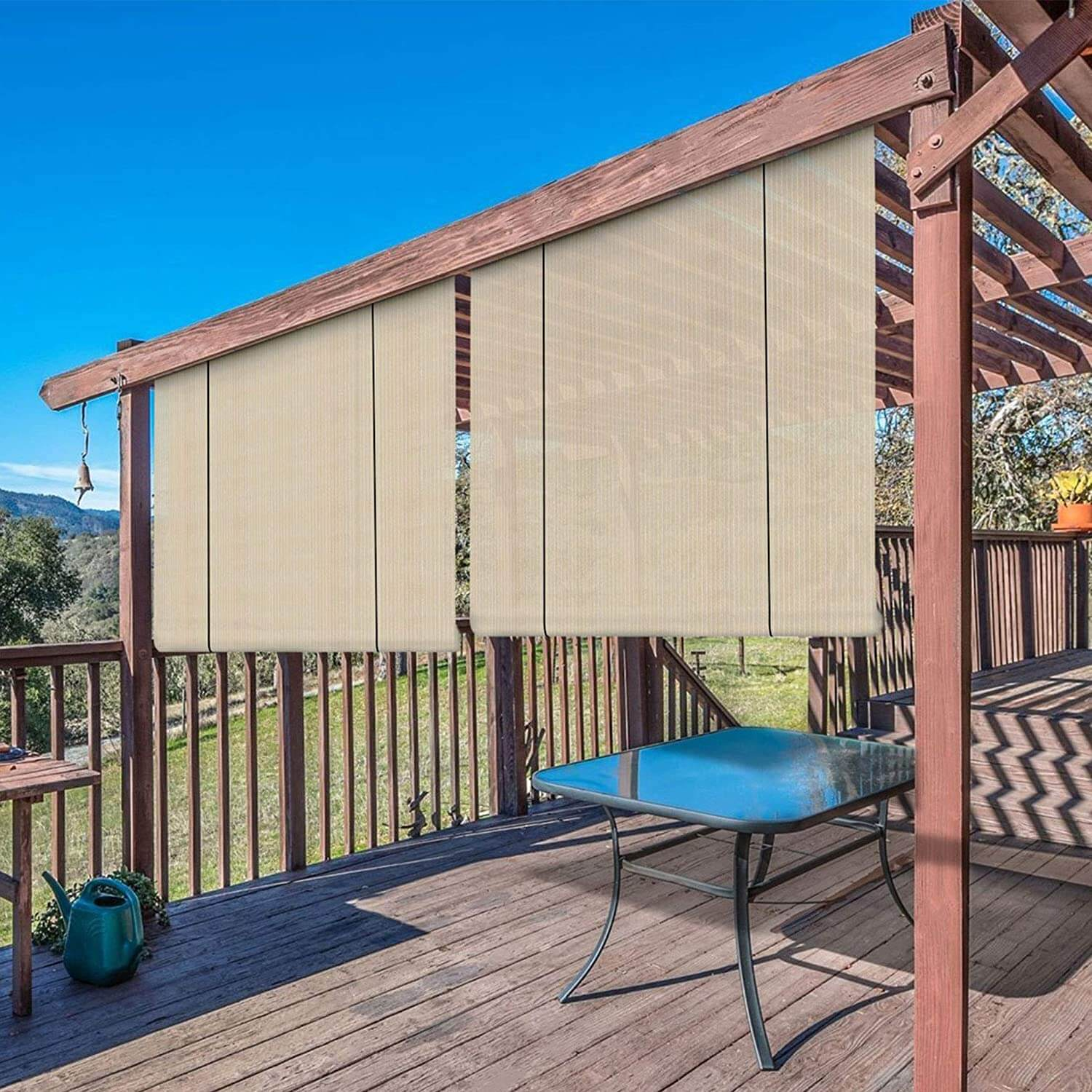 EXTERIOR ROLL UP PATIO SHADES