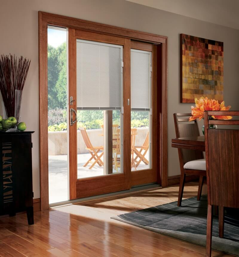 FRENCH STYLE SLIDING PATIO DOORS WITH BUILT IN BLINDS