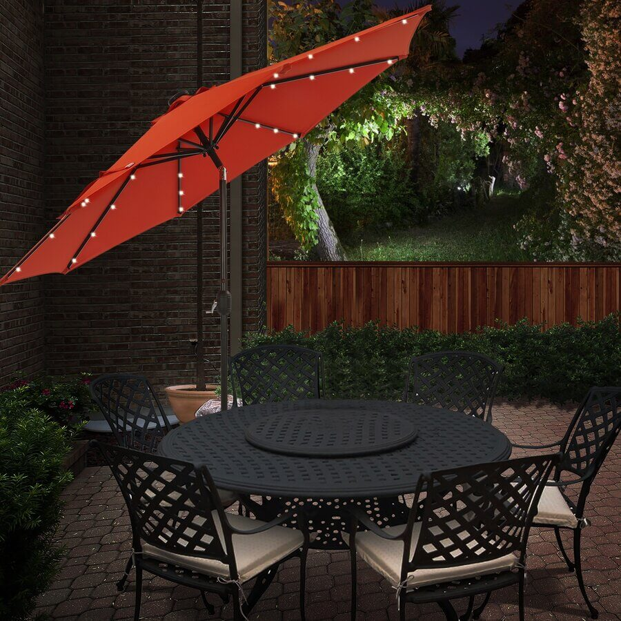 LIGHT AND PORTABLE TILTED PATIO UMBRELLA WITH SOLAR LIGHTS