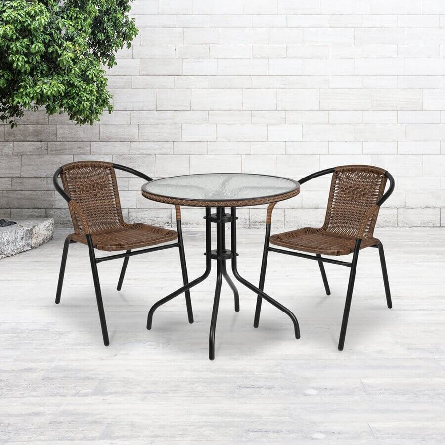 MEADOWLAND GLASS TOP PATIO TABLE FOR SMALL CORNER