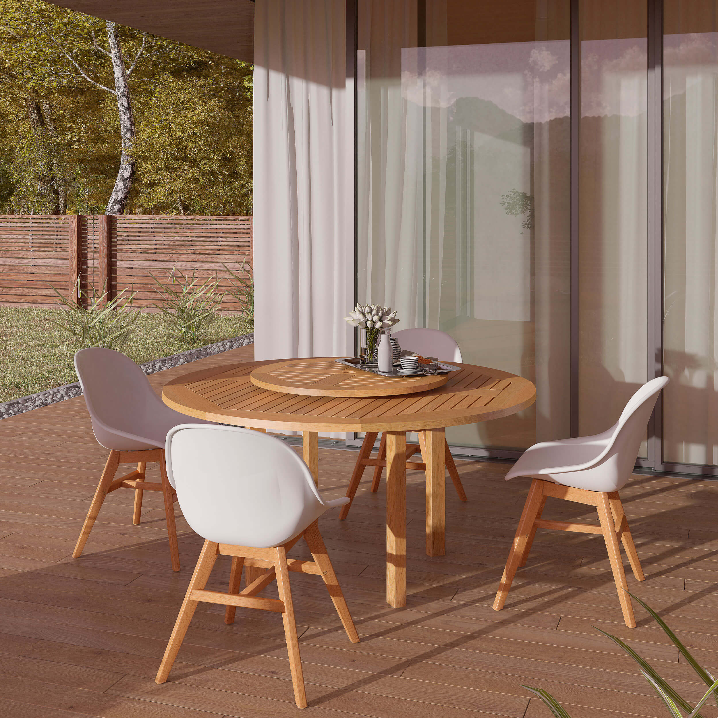 MODERN FRESH LOOK ROUND PATIO TABLE AND CHAIRS