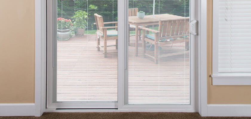 MODERN SLIDING PATIO DOORS WITH BUILT IN BLINDS