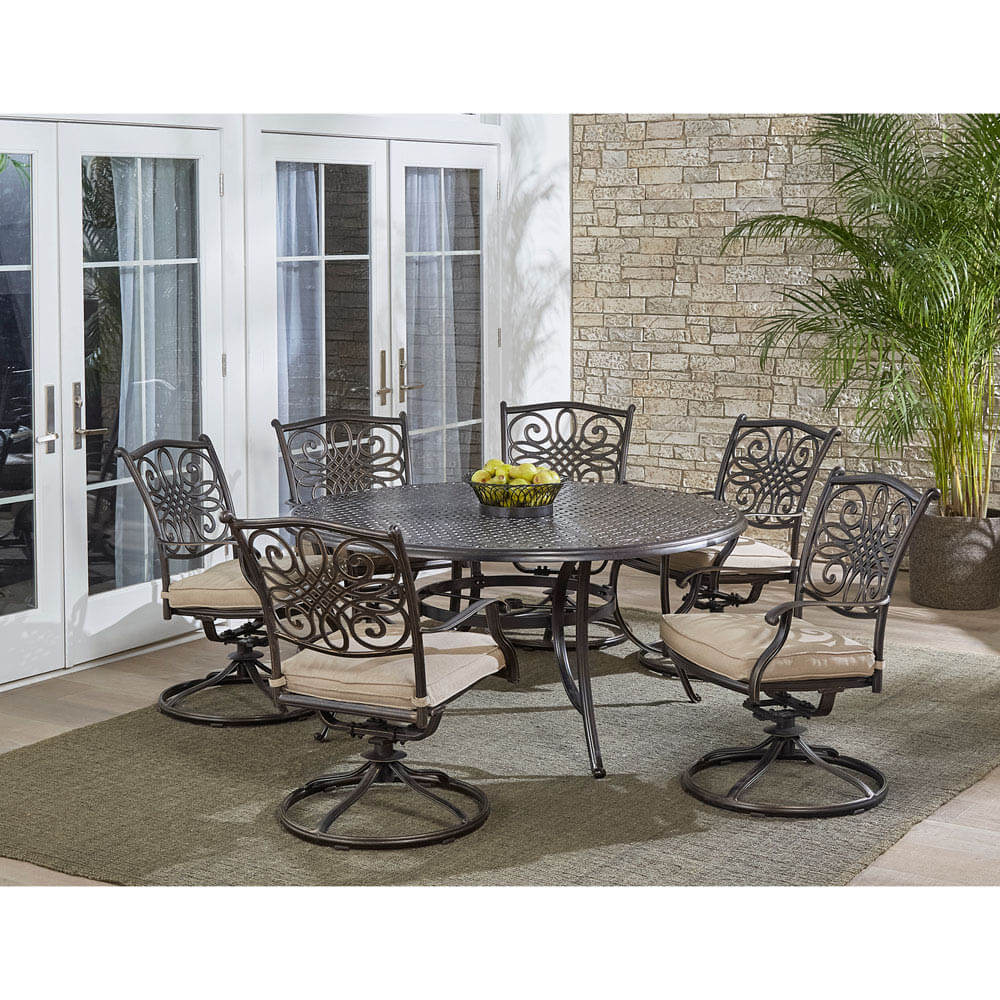 ORNAMENTAL ROUND PATIO TABLE AND CHAIRS