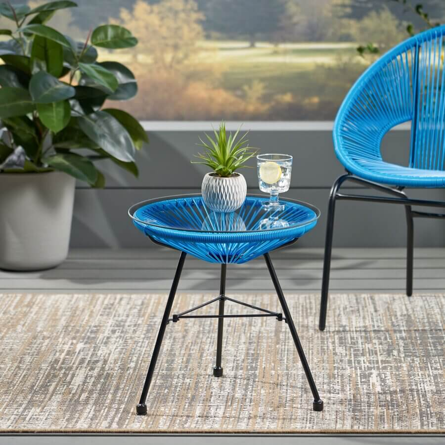 PRETTY MODERN SIDE GLASS TOP PATIO TABLE TAYLOR