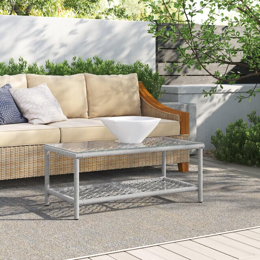 RECTANGLE GLASS TOP PATIO TABLE