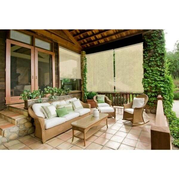 ROLL UP PATIO SHADES WITH NEUTRAL TONE