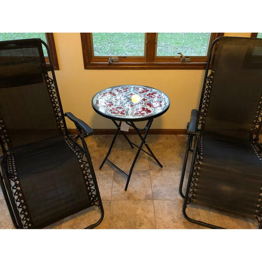 ROYAL PATTERNED GLASS TOP PATIO TABLE FOLDING SIDE