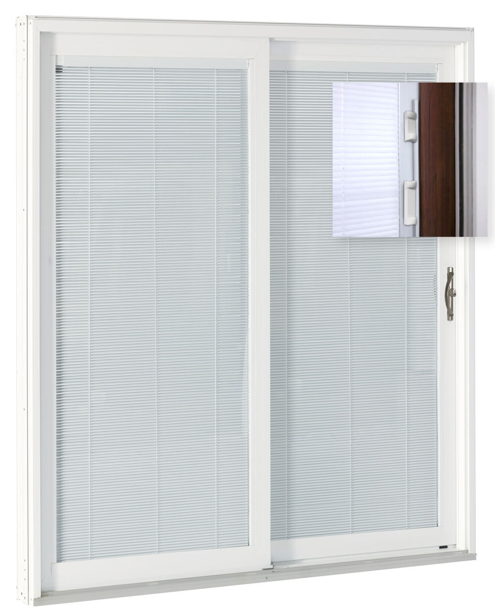 SLIDING PATIO DOORS WITH BUILT IN BLINDS INTERNAL FOR MAXIMUM PRIVACY