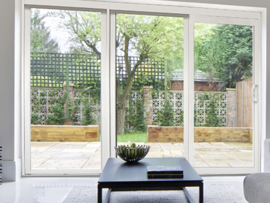 SLIDING PATIO THERMAL DOORS WITH BUILT IN WITH BLINDS