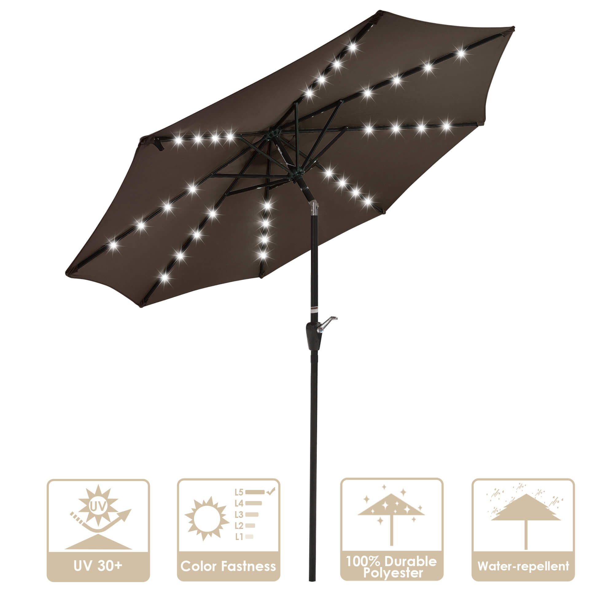 SOLAR PATIO UMBRELLA WITH UV RESISTANT AND ANTI FADING MATERIAL