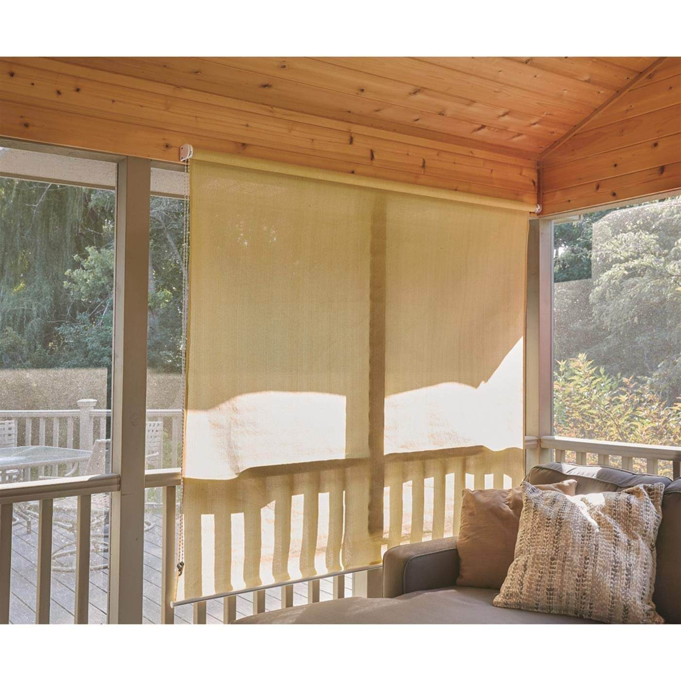 WEAVED FABRIC ROLL UP PATIO SHADES
