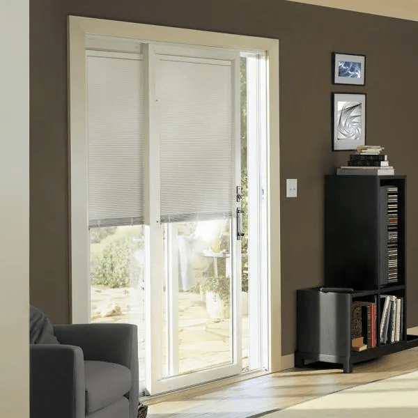 WHITE SLIDING PATIO DOORS WITH BUILT IN BLINDS
