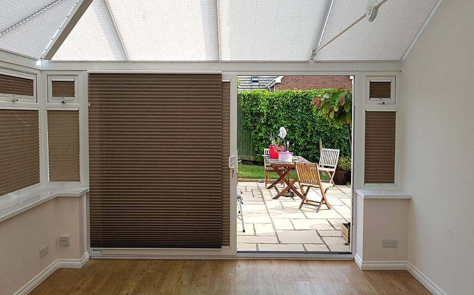 WIDE SLIDING PATIO DOORS WITH BUILT IN BLINDS