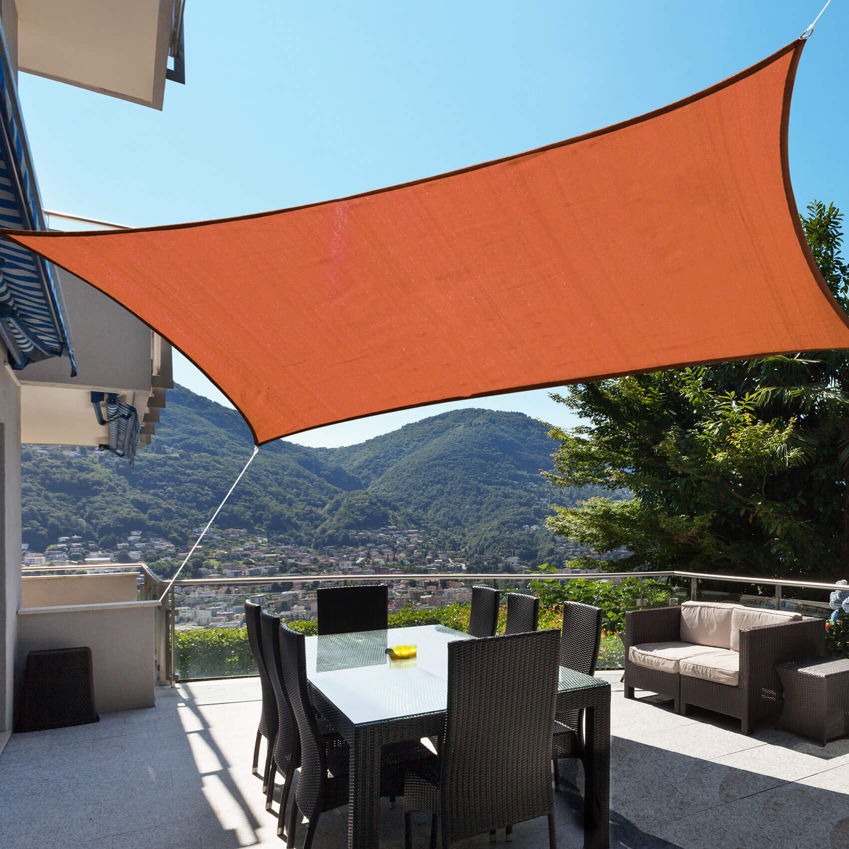 ATTACH THE SAIL SHADE FOR INEXPENSIVE PATIO SHADES IDEAS