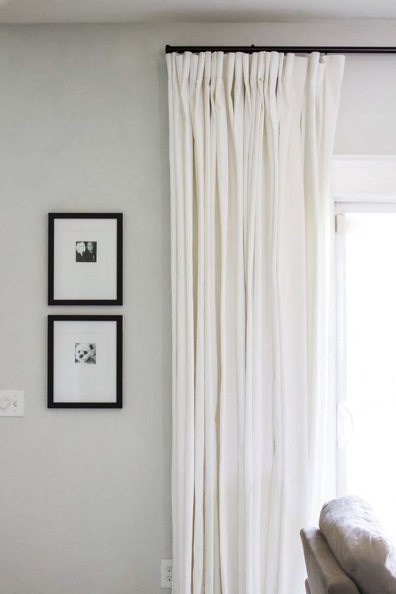 PATIO DOOR WINDOW TREATMENTS IDEAS WITH SIMPLE WHITE CURTAINS ON BLACK ROD