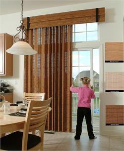 PATIO DOOR WINDOW TREATMENTS IDEAS WITH WOOD WOVEN PANEL CURTAIN